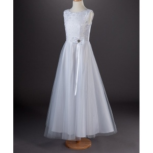 Millie Grace 'Crystal' Diamante Heart White Communion Dress