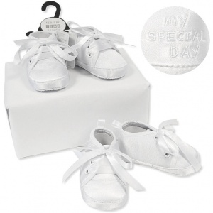 Baby Boys White Satin My Special Day Christening Shoes