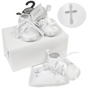 Baby Boys White Satin Silver Cross Christening Shoes