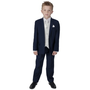 Boys Navy & Ivory 6 Piece Slim Fit Suit