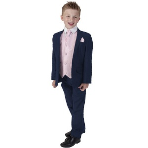 Boys Navy & Pink 6 Piece Slim Fit Suit