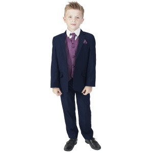 Boys Navy & Purple 6 Piece Slim Fit Suit