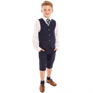 Boys Navy 4 Piece Shorts Suit with Tie