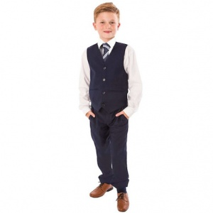 Boys Navy 4 Piece Trouser Suit with Tie