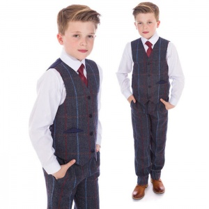Boys Navy Tweed Check 4 Piece Waistcoat Suit
