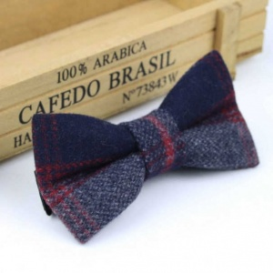 Boys Navy & Red Check Wool Bow Tie with Adjustable Strap