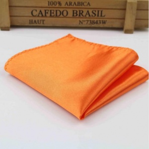 Boys Orange Satin Pocket Square Handkerchief