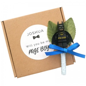 Page Boy Superhero Satin Buttonhole with Personalised Gift Box
