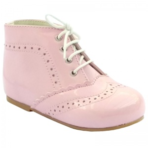 Girls Pink Patent Brogue Lace Up Boots