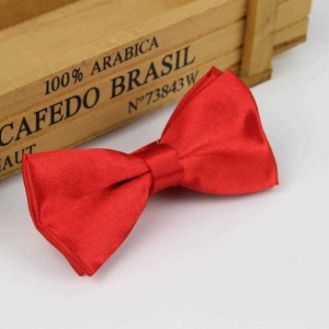 Boys Poppy Red Satin Bow Tie with Adjustable Strap