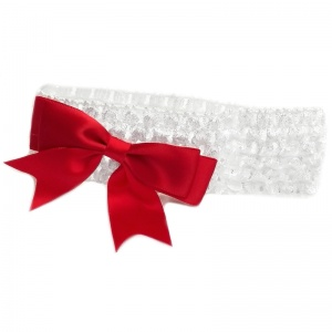 Baby Girls White Crochet Headband with Medium Satin Red Bow