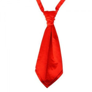 Boys Poppy Red Adjustable Scrunchie Wedding Cravat