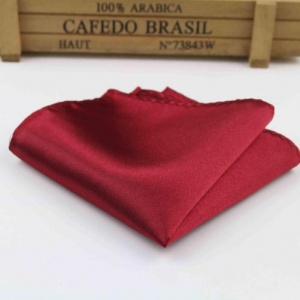 Boys Red Wine Satin Pocket Square Handkerchief