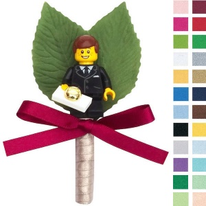 Boys Gold Ring Bearer Buttonhole with Satin Bow & Stem