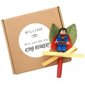 Ring Bearer Superhero Satin Buttonhole with Personalised Gift Box