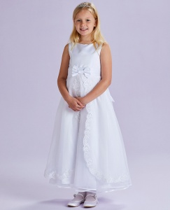 White Lace Organza Communion Dress - Rosemary P191 by Peridot