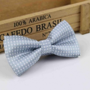 Boys Silver Polka Dot Dickie Bow with Adjustable Strap