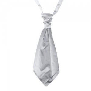 Boys Silver Adjustable Scrunchie Wedding Cravat