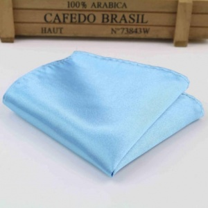 Boys Sky Blue Satin Pocket Square Handkerchief