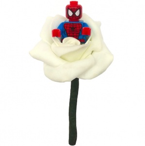 Boys Spiderman Ivory Rose Buttonhole