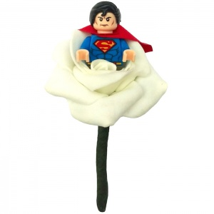 Boys Superman with Cape Ivory Rose Buttonhole