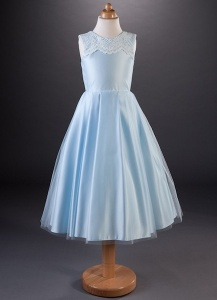 Girls Lace & Satin Box Pleat Dress - Toni by Busy B's Bridals