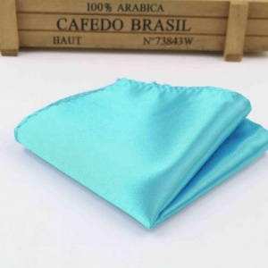 Boys Turquoise Satin Pocket Square Handkerchief