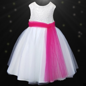 Girls White Diamante & Organza Cerise Pink Sash Dress