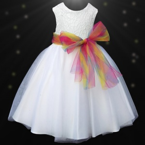 Girls White Diamante & Organza Dress with Rainbow Sash