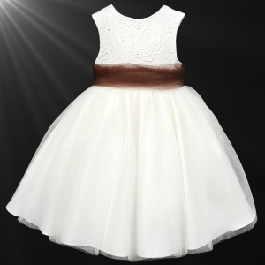 Girls Ivory Diamante & Organza Dress with Brown Sash