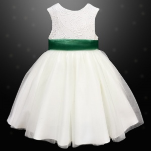 Girls Ivory Diamante & Organza Dress with Hunter Sash