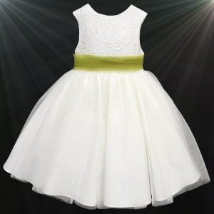 Girls Ivory Diamante & Organza Dress with Olive Sash