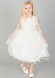 Girls Ivory Embroidered Floral Tulle Dress