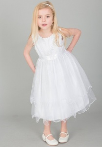 Girls White Embroidered Floral Tulle Dress