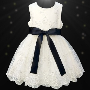 Girls Ivory Floral Lace Dress with Black Satin Sash