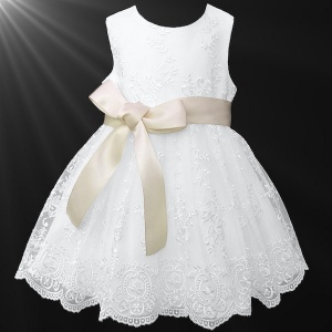 Girls White Floral Lace Dress with Champagne Satin Sash