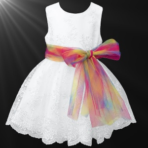 Girls White Floral Lace Dress with Rainbow Sash