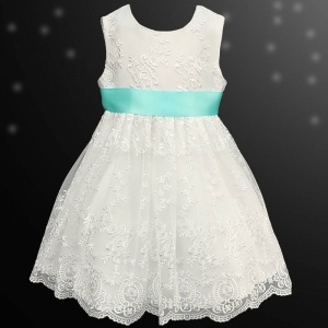 Girls Ivory Floral Lace Dress with Aqua Satin Sash