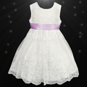 Girls Ivory Floral Lace Dress with Lilac Satin Sash