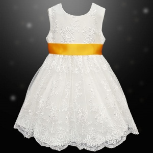 Girls Ivory Floral Lace Dress with Marigold Satin Sash