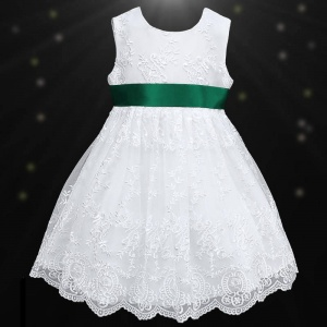 Girls White Floral Lace Dress with Bottle Satin Sash