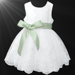 Girls White Floral Lace Dress with Sage Satin Sash
