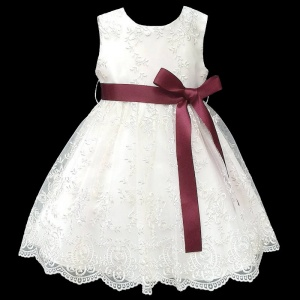 Girls Ivory Floral Lace Dress with Burgundy Satin Sash