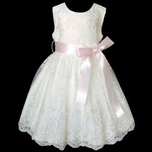 Girls Ivory Floral Lace Dress with Pale Pink Satin Sash