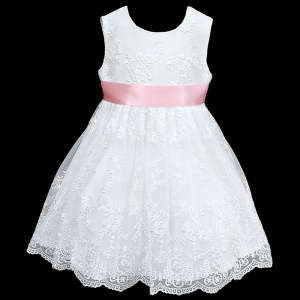 Girls White Floral Lace Dress with Baby Pink Satin Sash