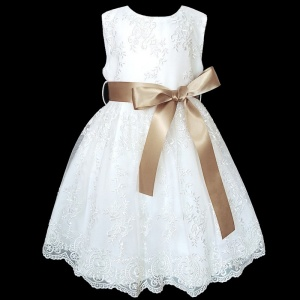 Girls White Floral Lace Dress with Caramel Satin Sash