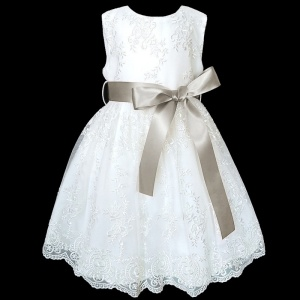 Girls White Floral Lace Dress with Mink Taupe Satin Sash