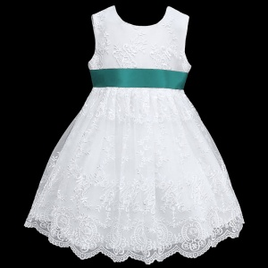 Girls White Floral Lace Dress with Teal Satin Sash