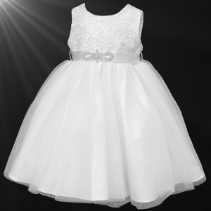 Girls White Sequin & Diamante Brooch Organza Dress