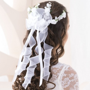 Girls Floral Back Hair Vine with Organza Curls by Lacey Bell W157
